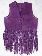Vintage 60s Purple Suede Leather Tie-Front FRINGE Drop Hippie VEST Festival M