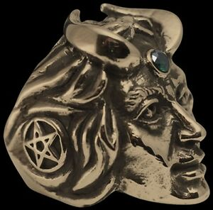 Bronze Lucifer biker ring custom size green crystal handmade Devil Satan R-185b