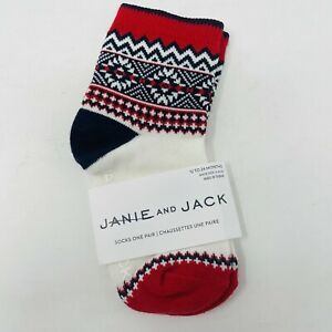 Janie and Jack Toddler Boys 12-24 Months Shoe Size 4-6 Fair Isle Crew Socks Red