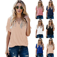 Women Summer V-Neck Short Sleeve Solid Ruched T-Shirt Casual Blouse Loose Tops