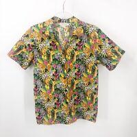 Cabelas Women Jungle Print Button Down Short Sleeve Shirt Medium Vintage Cotton