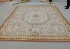 10' Vintage Aubusson Hand-woven Rug Floral Garland Gold Ivory New Zealand Wool