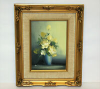 Vintage Oil on Canvas Board Still Life Painting 'Flowers in Vase' Signed, Framed