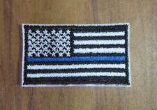 White Blue Line USA America Police Support Flag Embroidery Patch