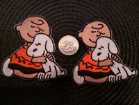 "2 Charlie Brown /& Snoopy Embroidered Iron On  Patches 3/"" x 2.5/"""