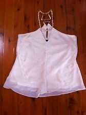 CITY CHIC OFF WHITE/ROSE GOLD NECKLACE EVENING TOP SIZE: L BNWOT RRP:$129.99