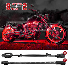 10 pc Neon LEDs Engine Wheel Saddle Bag Accent Light Kit for Motorcycle - RED