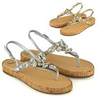 Womens T-Bar Strap Sandals Crystal Diamante Platform Ladies Summer Shoes Size