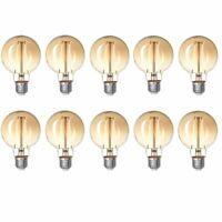 10x Brilliant LED Filament Vintage Globe 80 2,5W Leuchtmittel E27 Gold Warmweiß