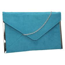 Women Louis Suede Velvet Leather Envelope Ladies Evening Party Prom Clutch Bag
