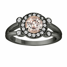 Pink Peach Morganite Engagement Ring 14K Black Gold Vintage Style 1.03 Carat