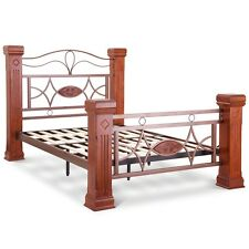 Omega 4ft6 Double Beautiful Wood Post & Metal Work Bed Frame