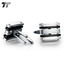 Elegant MENS TT Two-Tone Silver/Black Stripe Stainless Steel Cufflinks CU51D NEW