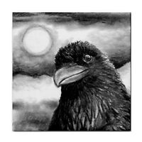 Large Ceramic Tile 6x6 Bird 64 Crow Raven art painting by L.Dumas
