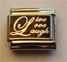 LIVE LOVE LAUGH REVERSE AUTHENTIC LASER ITALIAN CHARM 9MM CLASSIC FOR BRACELETS