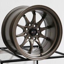 15x9 Vors TR3 4x100/4x114.3 0 Bronze Wheels Rims Set(4)