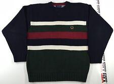 Vintage 90's Tommy Hilfiger Crest Striped Sweater Mens L Heavy Cotton Polo