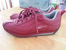 Vans Womens Leather Lace Up Sneakers Burgundy Red Size 8.5