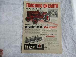 1955 McCormick Deering Farmall 300 tractor print ad poster