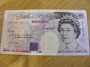 Twenty Pounds Banknote GEA Kentfield N37 552169, Used but still crisp note