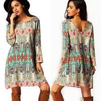 Womens Hippie Boho Gypsy Short Dress Summer Printed Vintage Tunic Beach Sundress