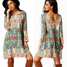Women Boho Short Mini Dress Long Sleeve Summer Beach Casual Loose Sundress Tunic