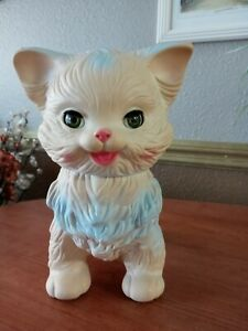 1960 Vintage Edward Mobley Co. Squeaky Rubber Cat with Sleep Eyes Squeak Works