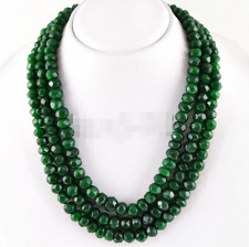3Rows Natural 5x8mm Green Emerald Faceted Gemstone Beads Necklace 17-19'' AAA