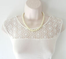 "Gorgeous 18"" long CREAM GLASS faux pearl bead necklace - diamante clasp"
