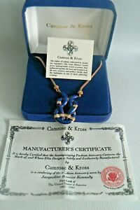 Camrose & Kross JACQUELINE BOUVIER KENNEDY Blue Enamel Crystal Necklace JBK