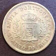 India - Portuguese India (GOA), Silver Quarter Rupia, KM# 310, 1881, XF, 2.85g