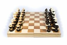 "Handmade Chess. Wooden with Bone. Model ""Bolita"" Foldable Board: 13.78"" x 13.78"""