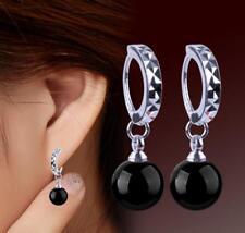 Gemstone Beads Drop silver Hook Earring Pretty Fashion 8mm Aaa Black Agate