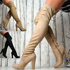 Neu LuXus Overknee Stiefel Plateau Damen Schuhe Blockabsatz SeXy beige schwarz