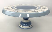 """St. Nicholas Square Winter Frost Pedestal Cake Stand Holiday Blue White 13"""""""