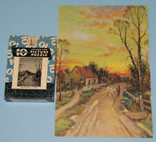"VTG PERFECT PICTURE PUZZLE BIG 10 JIGSAW ""MEMORY LANE"" FARM SHEEP WAR BOND CIB"
