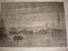Fenian Alarm The Night Guard in Plymouth Harbour 1868 old print ref Z1
