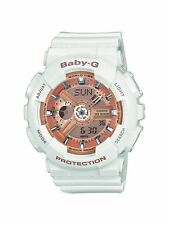 New Casio BA110-7A1 Women's Baby-G Rose Gold Dial White Resin Strap Chrono Watch