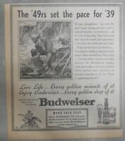 Budweiser Beer Ad: '49 Panning For Gold ! from 1938 Size: 8 x 9 inches