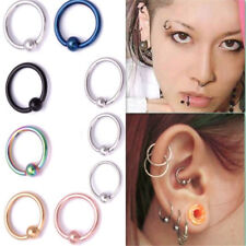 Beauty Surgical Steel Hoop Ring Ball Closure Piercing Lip Ear Nose 8mm*1.2mm