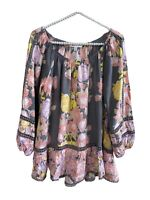 Fever Pink, Yellow, Gray Crochet Lace Peasant Blouse Shirt Ruffle Boho Top Small