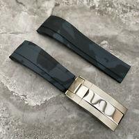 Schwarz/Grau Camouflage 20mm Öse Silikon Gummi Uhr Armband Für Rolex Uhren