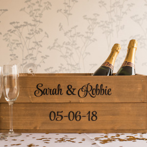 Personalised Rustic Wooden Shallow Apple Crate Box for Weddings