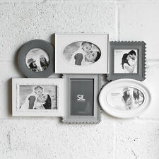 Large Grey & White 6 Aperture Multi Picture Photo Frame Shabby Chic Wall Collage