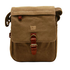 Troop London - Brown Canvas Classic Messenger/Body Bag with Brown Leather Trim