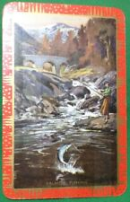 Playing Cards 1 Single Swap Card - Old Vintage SALMON FISHING Lady Stream Fish