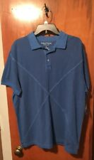 New Mens Nautica Pigment Dye Cotton Blue Polo Shirt Large NWT
