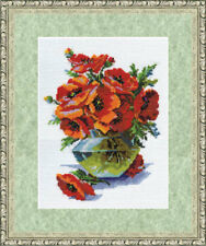 Counted Cross Stitch Kit Golden Fleece Poppies in a Vase