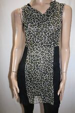 Sacred Collections Brand Animal Print Mesh Cowl Neck Dress Size XS BNWT #TP92
