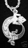 LOOK 1722 aztec Sterling Silver .925 Lizard Pendant Charm Gecko Jewelry